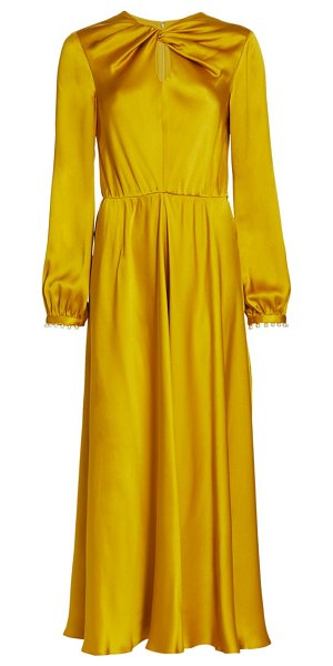 Giambattista Valli knotted keyhole silk ruched gown in mustard