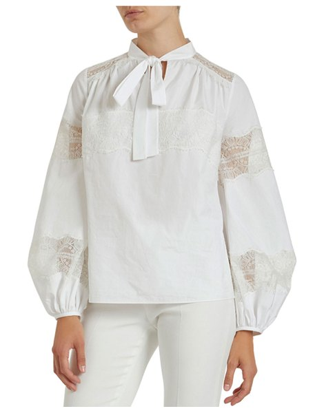 Giambattista Valli Lace-Striped Full-Sleeve Blouse in white
