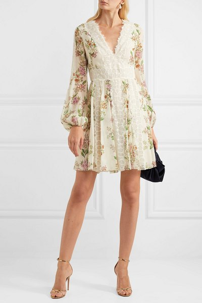 Giambattista Valli lace-trimmed floral-print silk-georgette mini dress in ivory