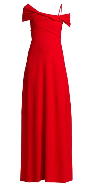 Giambattista Valli off-the-shoulder wrapped gown in red