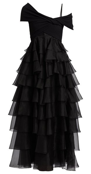 Giambattista Valli wrapped off-the-shoulder ruffle tiered gown in black