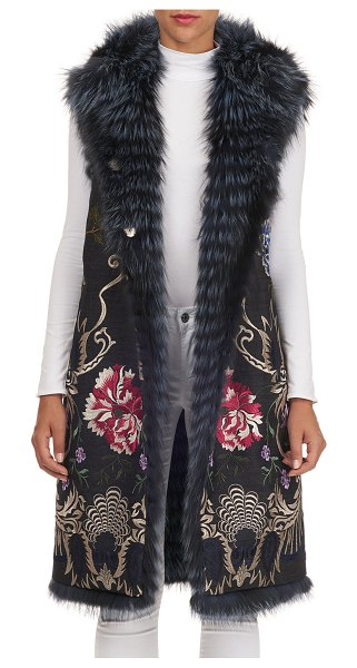 Gianfranco Ferre Reversible Layered Fox-Fur Vest in blue