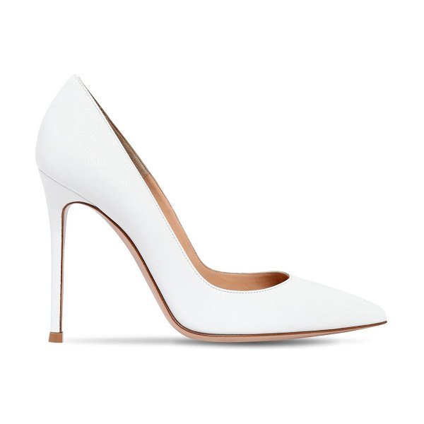 Gianvito Rossi 105mm gianvito leather pumps in white - 105mm Leather covered heel. Pointed toe. Leather sole