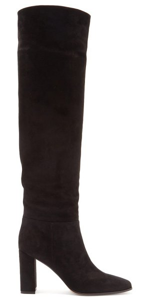 Gianvito Rossi 85 square-toe knee-high suede boots in black
