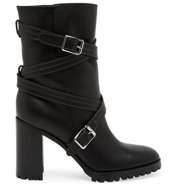 Gianvito Rossi crisscross strap leather mid-calf boots in black