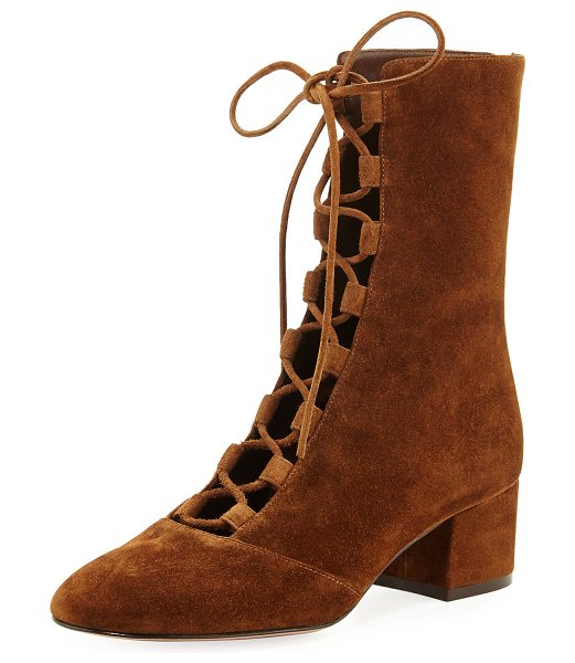 "GIANVITO ROSSI Delia Suede Lace-Up Ankle Boot - Gianvito Rossi suede ankle boot. 1.8"" covered heel. Round..."