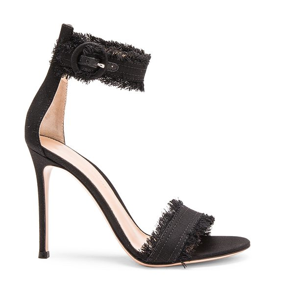 Gianvito Rossi Denim Lola Heels in black - Denim upper with leather sole.  Made in Italy.  Approx...