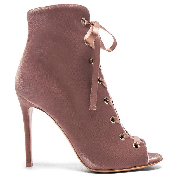 Gianvito Rossi for FWRD Velvet Marie Lace Up Booties in pink - Velvet upper with leather sole.  Made in Italy.  Approx...
