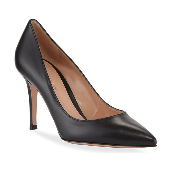 Gianvito Rossi Gianvito 85 Vitello Leather Point-Toe Pumps in black