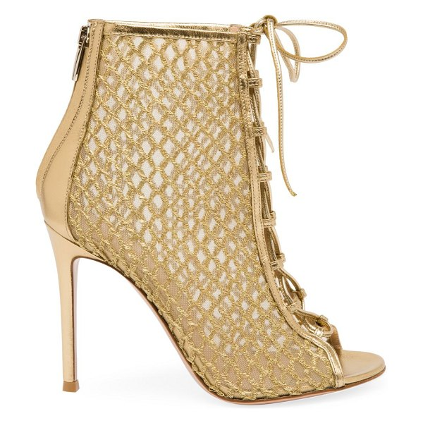 Gianvito Rossi helena lace-up mesh leather booties in gold
