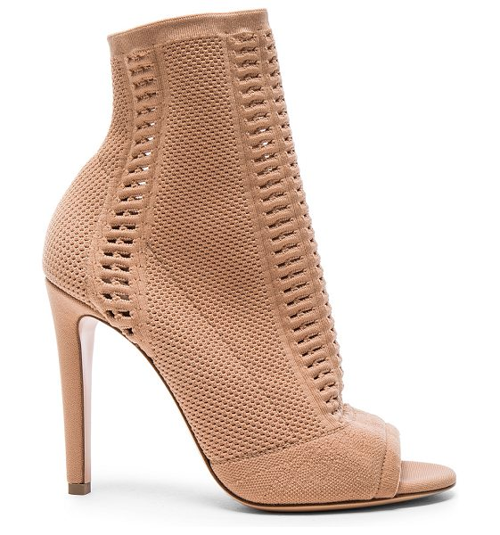 GIANVITO ROSSI Knit Vires Booties in neutrals - Stretch knit upper with leather sole.  Made in Italy. ...