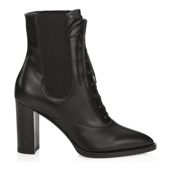 Gianvito Rossi lace-up leather booties in black