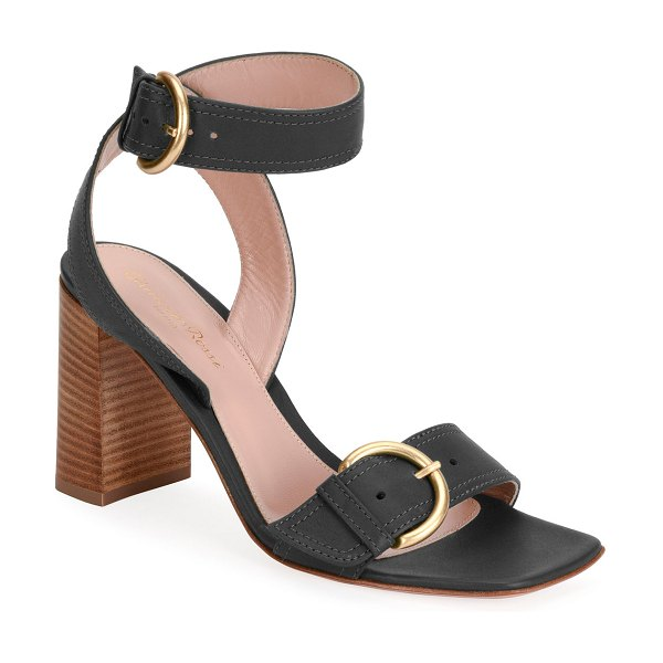 Gianvito Rossi Leather Buckle Ankle-Strap Sandals in black