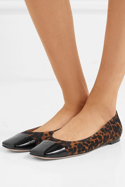 Gianvito Rossi leopard-print suede and patent-leather ballet flats in leopard print