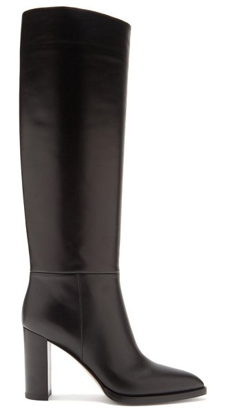 Gianvito Rossi melissa 85 leather knee-high boots in black