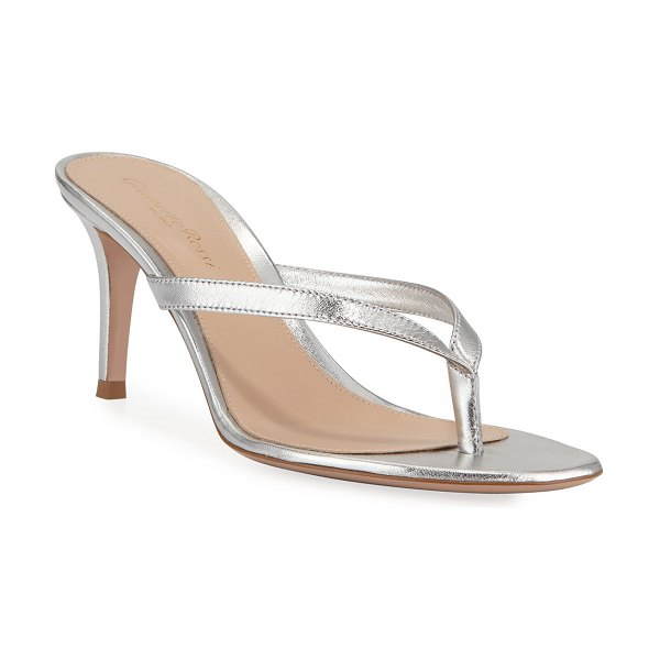 Gianvito Rossi Metallic Leather Mid-Heel Thong Sandals in silver