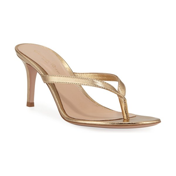 Gianvito Rossi Metallic Leather Mid-Heel Thong Sandals in gold