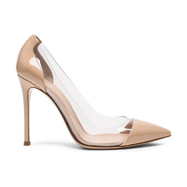 Gianvito Rossi Patent Leather Plexi Pumps in nude -  - Patent leather upper with leather sole.  Made in...