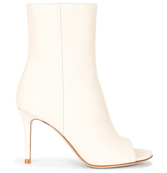 Gianvito Rossi peep toe booties in off white