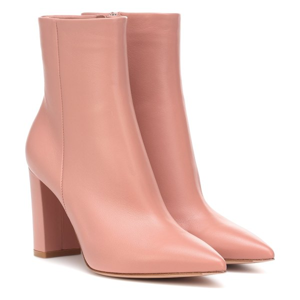 Gianvito Rossi piper 85 leather ankle boots in pink