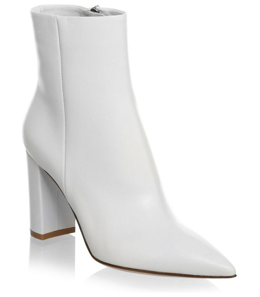 Gianvito Rossi piper block-heel leather ankle boots in off white