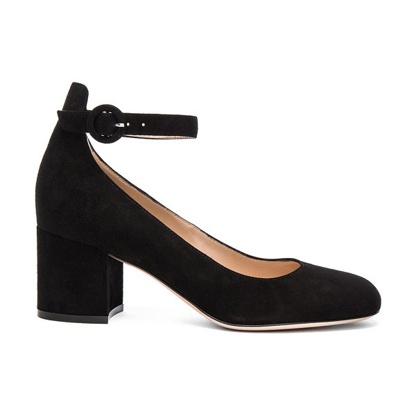 Gianvito Rossi Suede Ankle Strap Flats in black - Suede upper with leather sole.  Made in Italy.  Approx...
