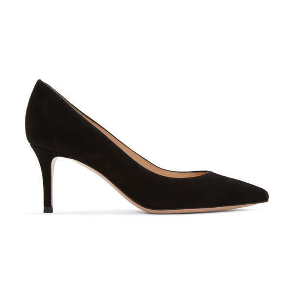 Gianvito Rossi suede gianvito heels in black - Chamois suede heels in black. Pointed toe. Gold-tone...