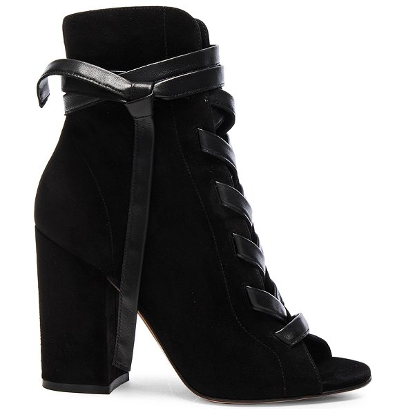 GIANVITO ROSSI Suede Lace Up Booties in black - Suede upper with leather sole.  Made in Italy.  Shaft...