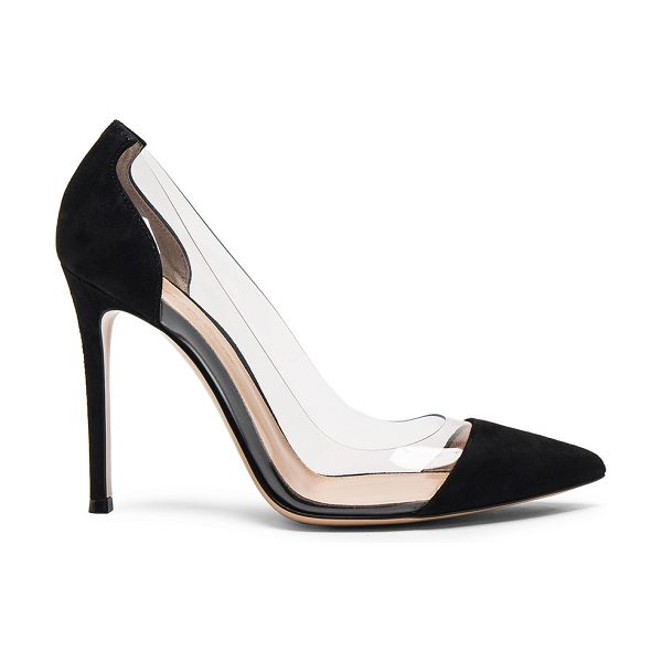 Gianvito Rossi Suede Plexi Pumps in black - Suede upper with leather sole.  Made in Italy.  Approx...