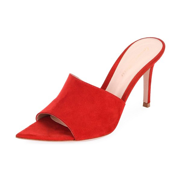 Gianvito Rossi Suede Slide 85mm Mules in red
