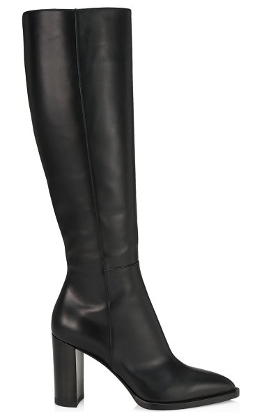 Gianvito Rossi tall point-toe leather boots in black