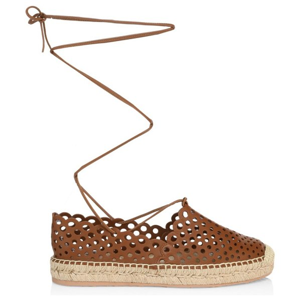 Gianvito Rossi thierry perforated leather lace-up espadrille sneakers in tan