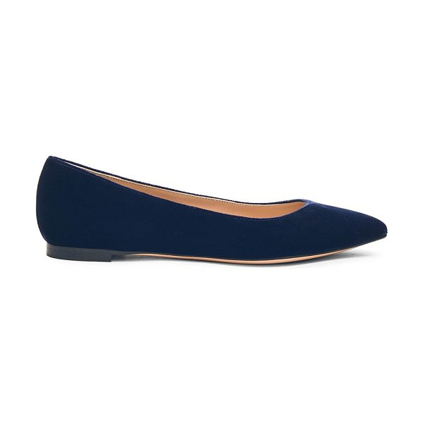 Gianvito Rossi Velvet Flats in blue - Velvet upper with leather sole.  Made in Italy.  Rubber...