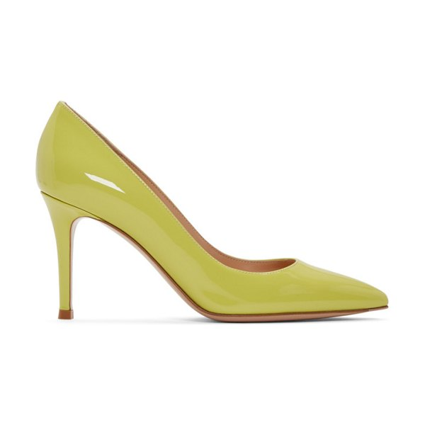 Gianvito Rossi yellow patent gianvito heels in lemonade - Patent heels in yellow. Pointed toe. Logo stamp in...