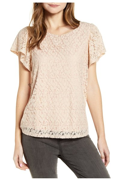 Gibson glam flutter sleeve lace front cotton blend top in pink adobe/ taupe