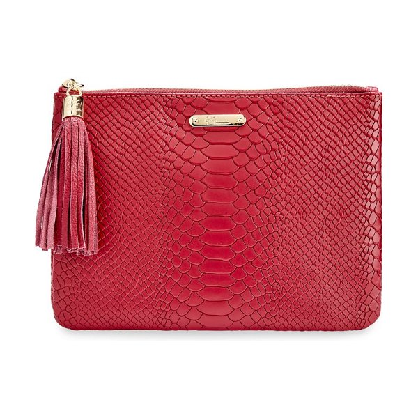 GiGi New York all-in-one python-embossed leather clutch in cranberry,ocean