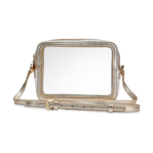 GiGi New York game day collins tuohy smith x gigi metallic leather-trimmed pvc camera bag in white gold