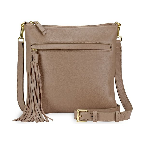 GiGi New York scout leather crossbody in stone