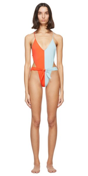 Gil Rodriguez red and blue caracas one-piece swimsuit in redblue