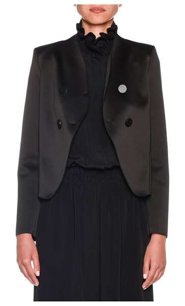 Giorgio Armani Bonded Satin Jersey Short Jacket in black