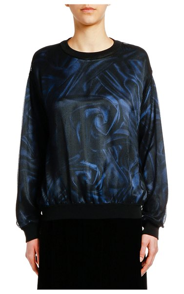 Giorgio Armani Printed Satin Top with Mesh Overlay in multi pattern