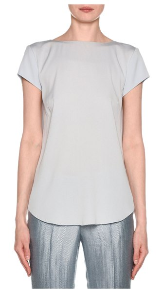 Giorgio Armani Short-Sleeve Crisscross Back Silk Blouse in blue