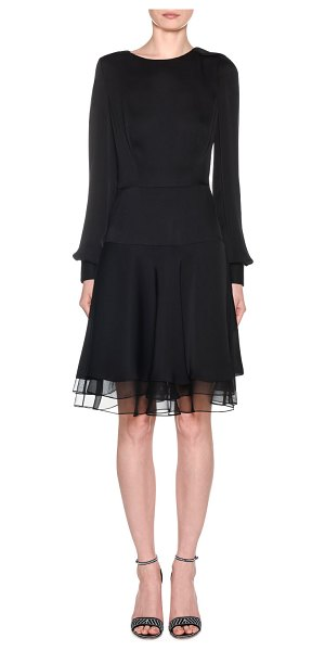 Giorgio Armani Silk Charmeuse Long-Sleeve Dress in black