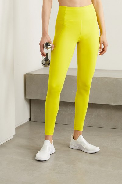 GIRLFRIEND COLLECTIVE compressive recycled stretch leggings in chartreuse