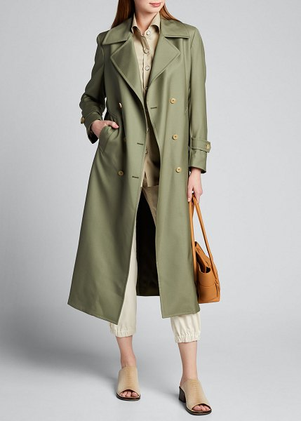 GIULIVA HERITAGE COLLECTION Tailored Double-Breasted Trench Coat in green