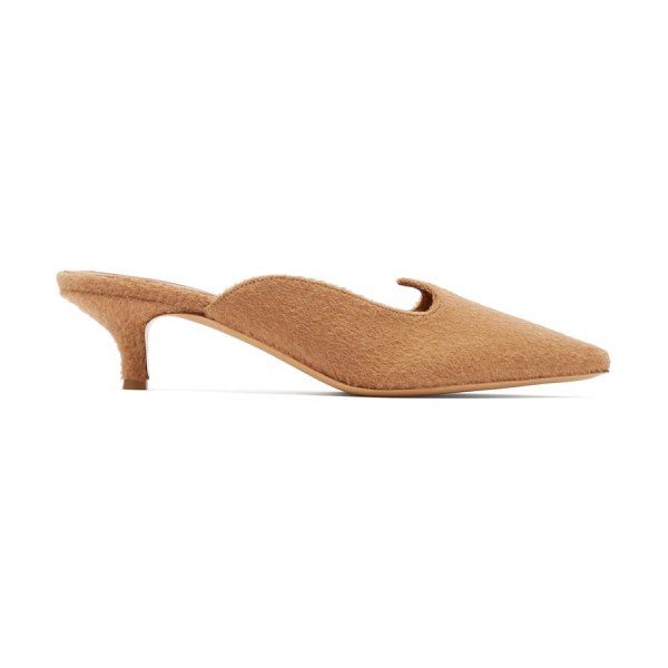 GIULIVA HERITAGE COLLECTION x le monde beryl camel-hair kitten-heel mules in camel