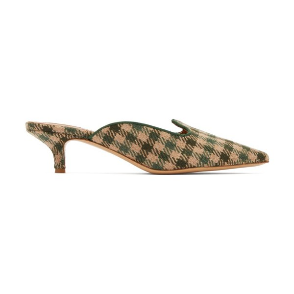 GIULIVA HERITAGE COLLECTION x le monde beryl checked kitten heel mules in green multi