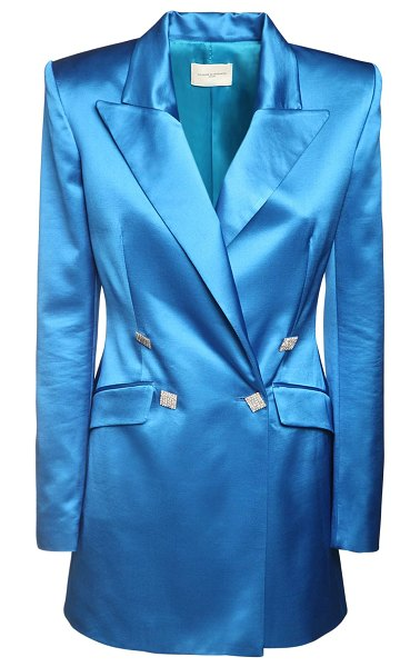 GIUSEPPE DI MORABITO Wool blend satin jacket dress in blue