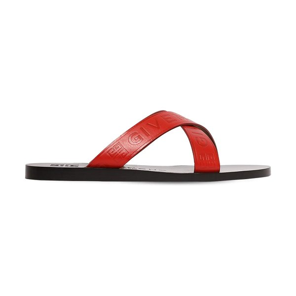Givenchy 10mm embossed logo strap leather sandal in red