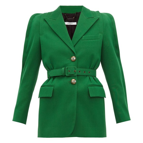 Givenchy belted technical wool blazer in green